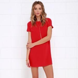 Lulu's Shift & Shout Red Shift Dress